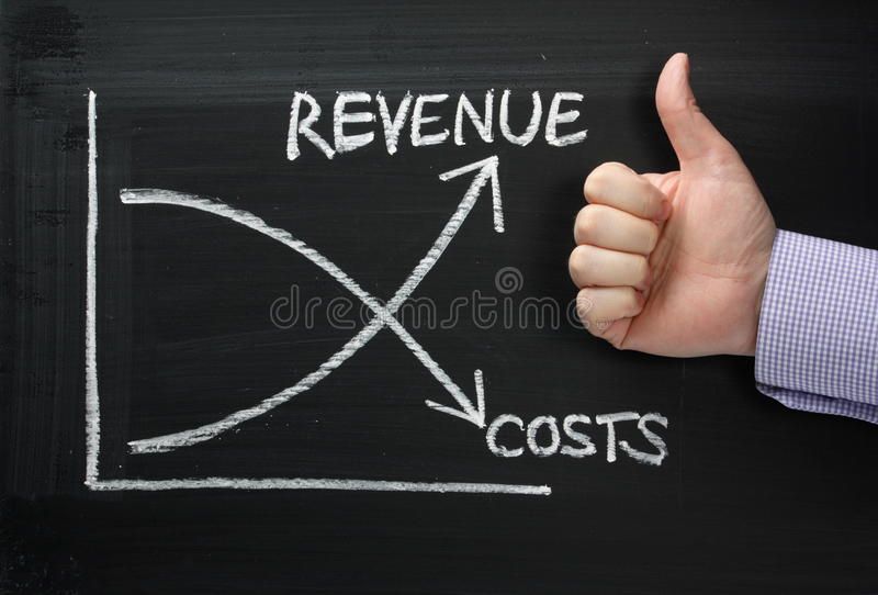 Dochód Versus koszty obrazy royalty free