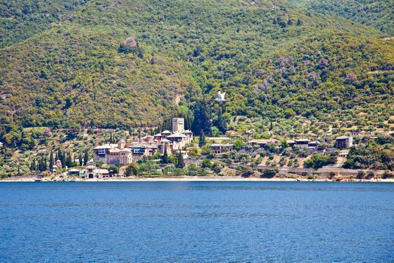 Dochiariou monastery at Mount Athos, Agion Oros, Greece. Dochiariou scenic medieval Orthodox monastery at Mount Athos, Agion Oros Holy Mountain, Chalkidiki stock photo