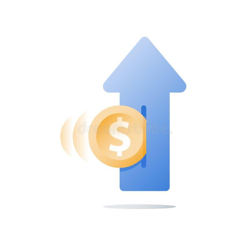Dochodu przyrost, inwestuje fundusz, dochodu wzrost, wskaźnik rentowności, długookresowy bogactwa zarządzanie, więcej pieniądze,  ilustracji