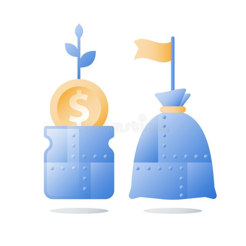 Dochodu przyrost, inwestuje fundusz, dochodu wzrost, wska?nik rentowno?ci, d?ugookresowy bogactwa zarz?dzanie, wi?cej pieni?dze,  ilustracji