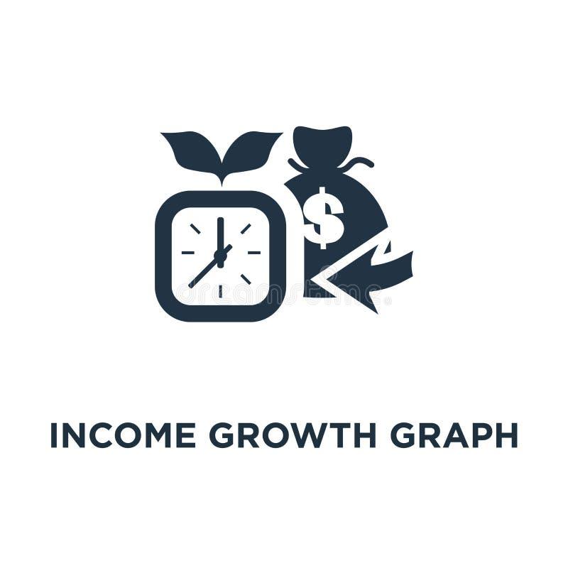 dochodu wykresu wzrostowa ikona pieniądze torba i zegarowa twarz, funduszy emerytalnych oszczędzania, superannuation pojęcia symb ilustracja wektor