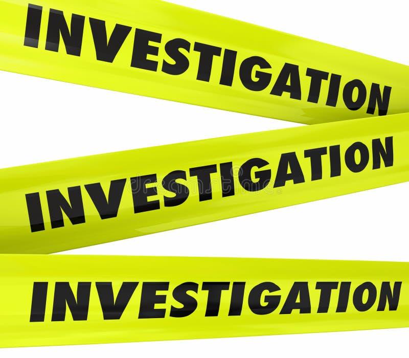 Dochodzenia słowa miejsca przestępstwa Żółta policja Nagrywa ilustracja wektor