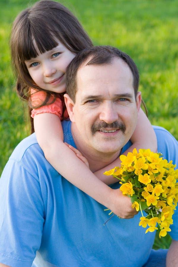 Dochter met vader stock afbeelding