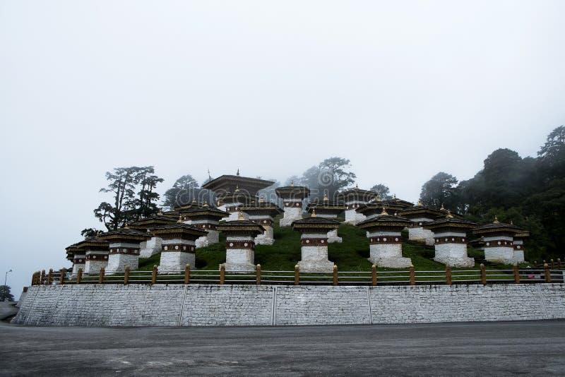 Dochula Pass 108 Chortens, Bhutan. NPhoto taken on: August 12th, 2015 royalty free stock photos