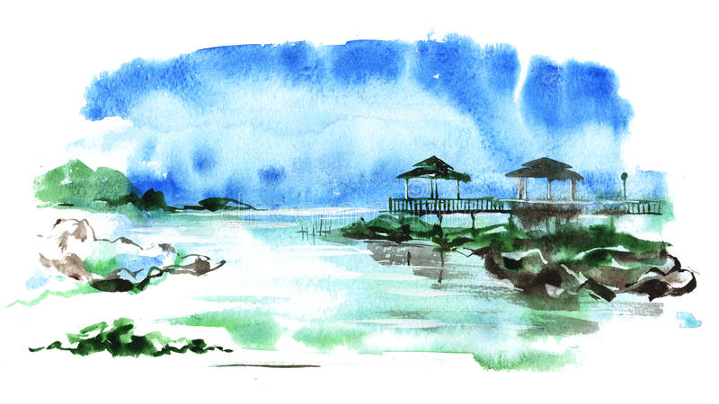 Dock. Silent Place - dock in the silent night stock illustration