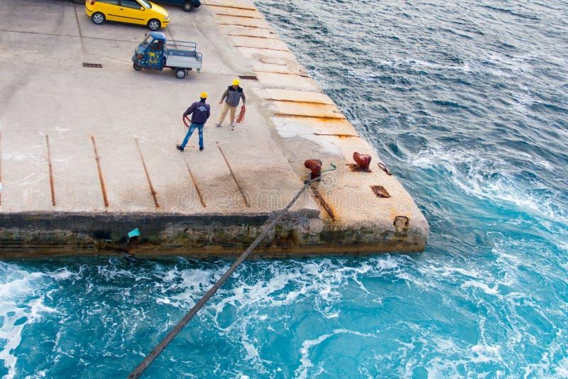 The dock on the Aegean sea royalty free stock photos