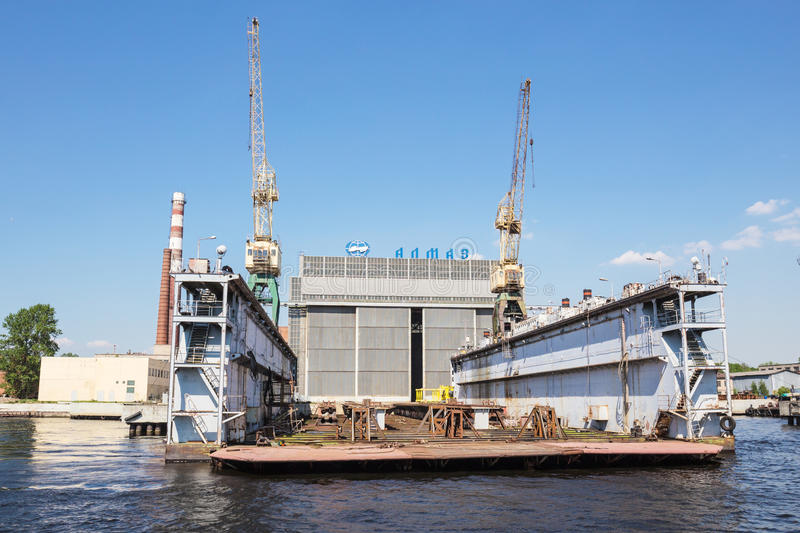 Dock of ALMAZ Shipbuilding Company, St.-Petersburg, Russia royalty free stock images