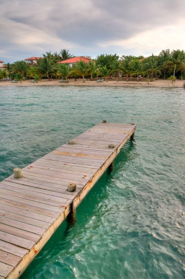 Dock on Belize Coast royalty free stock photography
