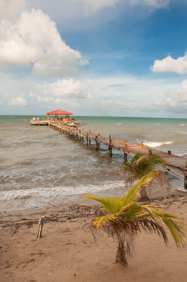 Dock on Coast of Belize stock photo
