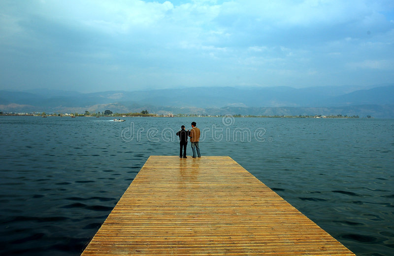 dock couple stock images