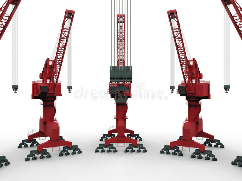 Dock cranes array. 3D render illustration of multiple dock cranes arranged in a array. The objects are on a white background with shadows royalty free illustration
