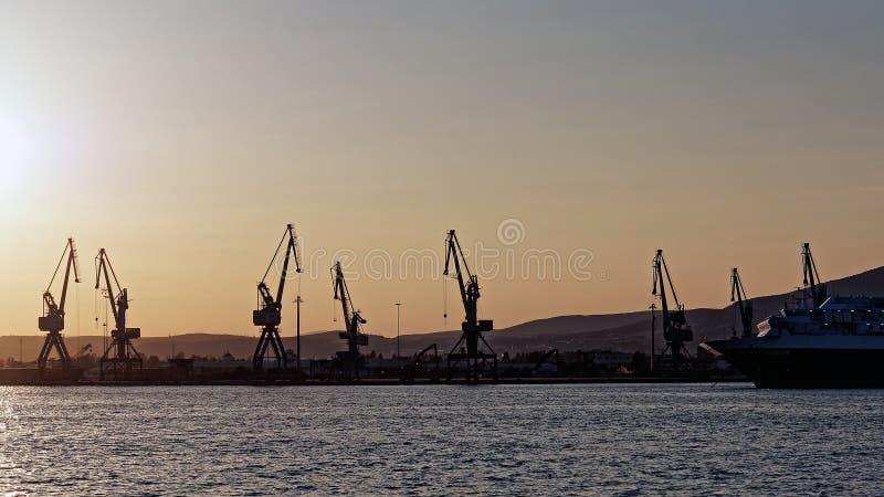 Dock Cranes, Volos Port, Greece stock image