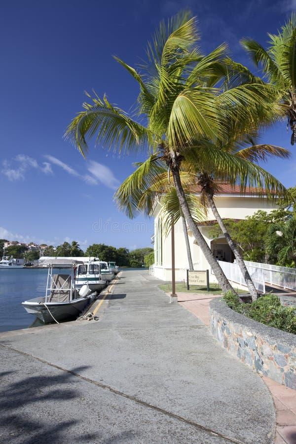 Dock de bateau aux USA Îles Vierges photos libres de droits