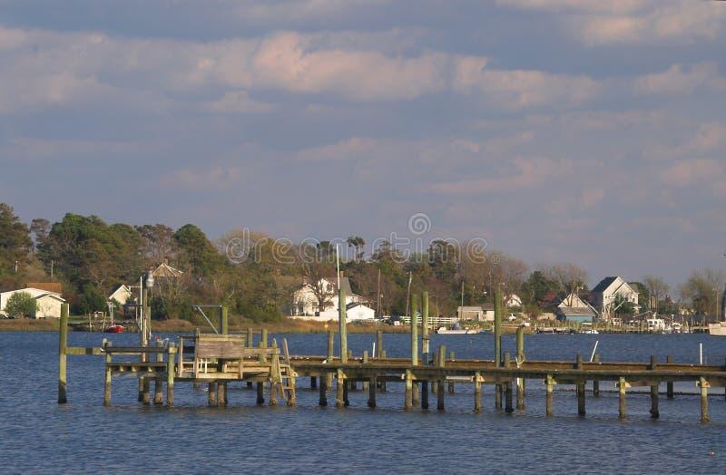 Dock de bateau de pilier de pêche images libres de droits