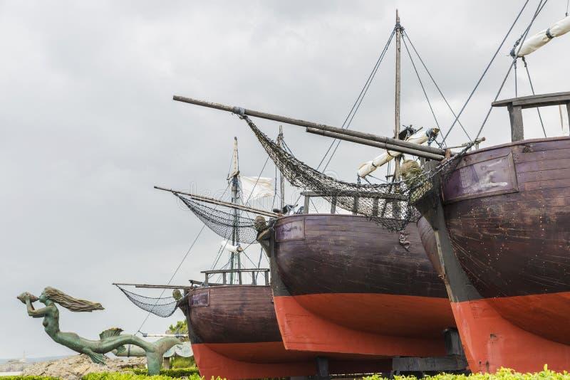 Dock des caravelles à Santander image stock