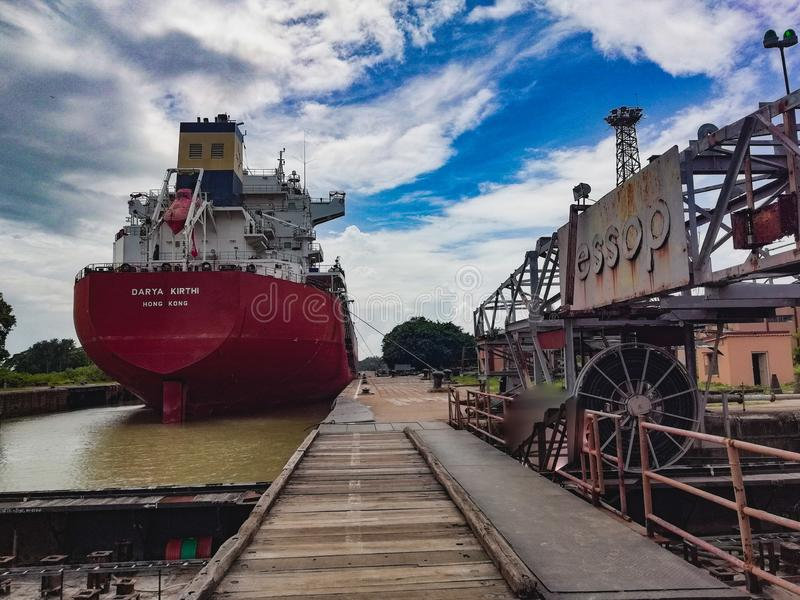 The Dock. An enhancing view of the Haldia Dock, West Bengal, India stock images