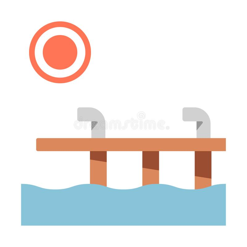 Dock flat illustration. Dock and sun vector illustration in flat color design royalty free illustration