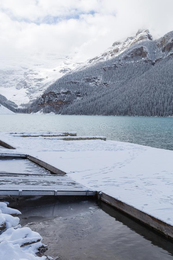 Dock on Lake Louise in Banff National Park. Dock on Lake Louise in Banff National Park, Canada stock photography