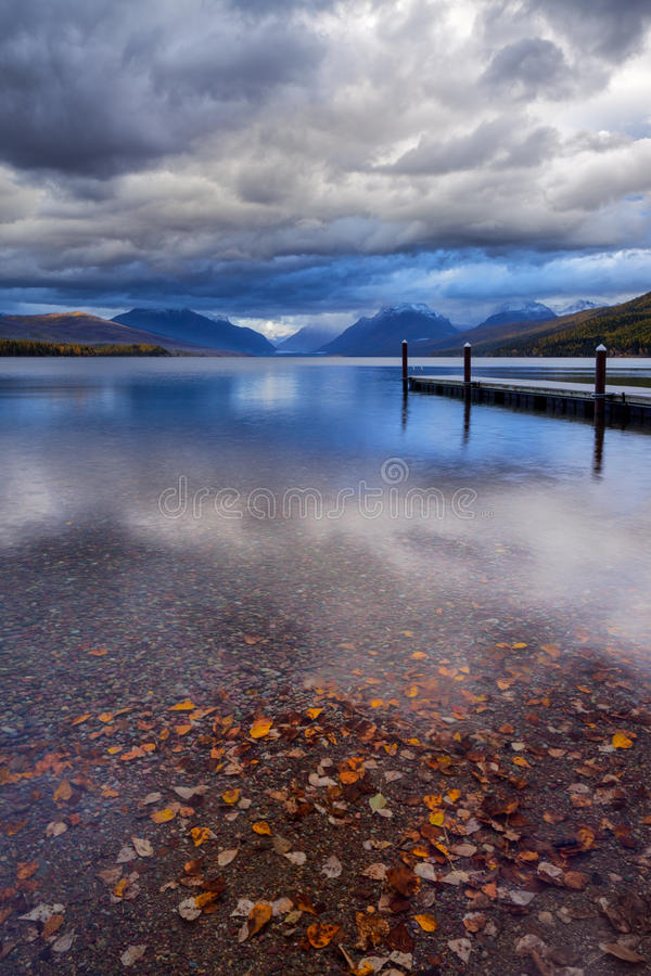The dock on Lake MacDonald in Glacier National Park. royalty free stock photo
