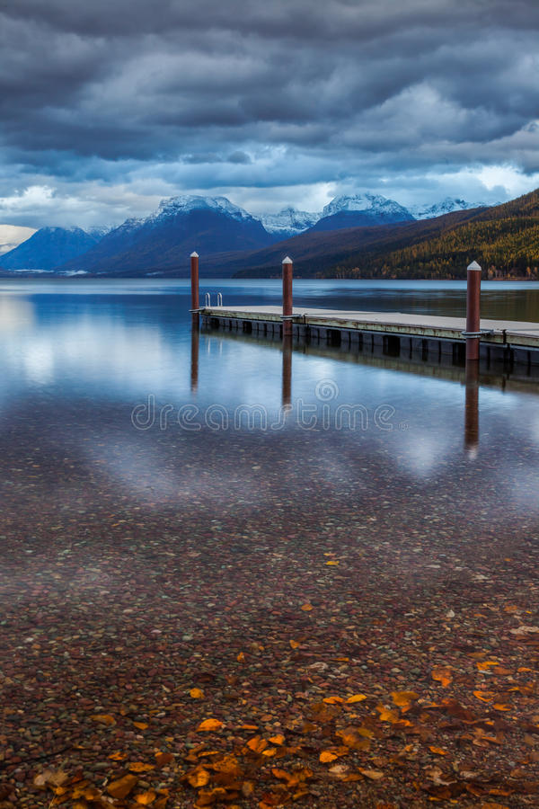 The dock on Lake MacDonald in Glacier National Park. royalty free stock photos