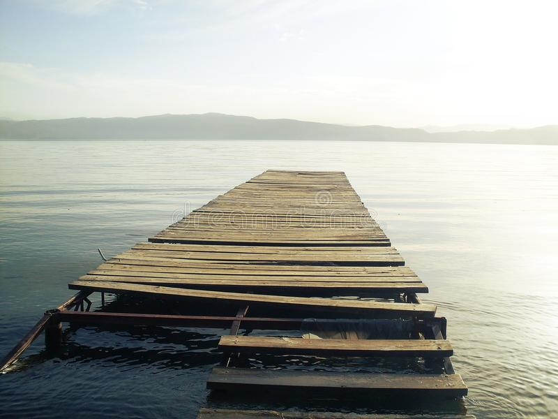 Dock on Lake Ohrid royalty free stock image