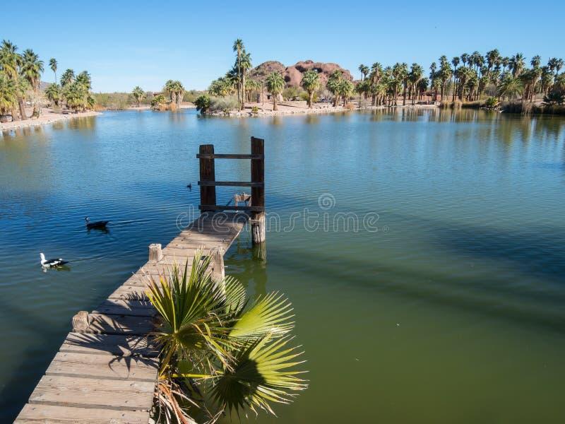 Papago Park, Phoenix, Arizona. Dock and lake at Papago Park, Phoenix, Arizona royalty free stock photo