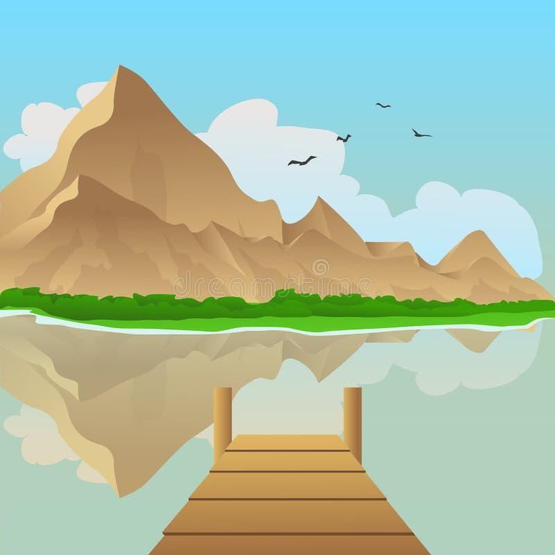 Dock on the lake stock vector. Illustration of design ...