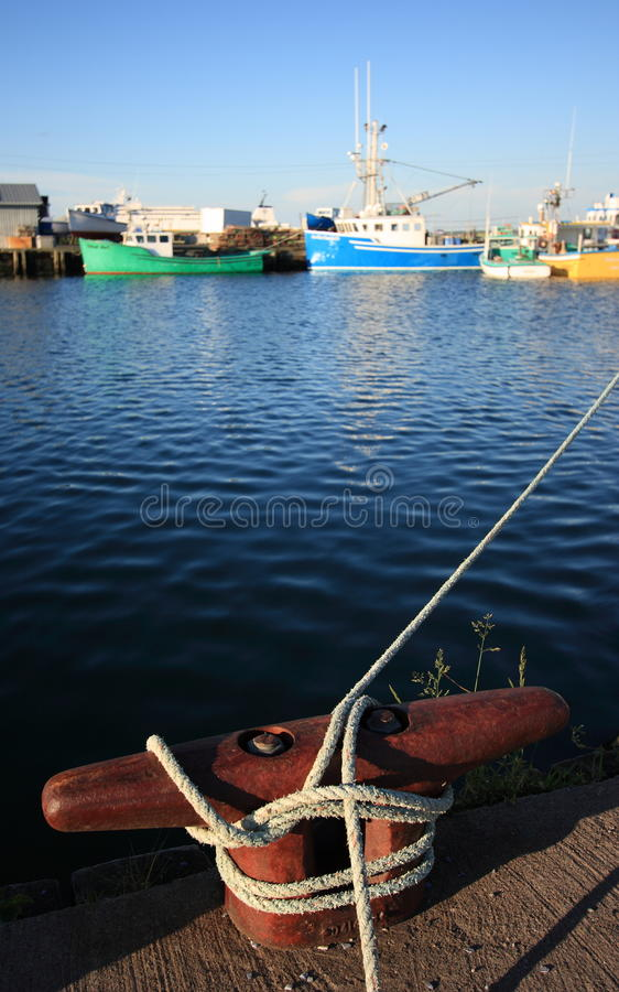 Dock Mooring Cleat In Harbour Stock Images