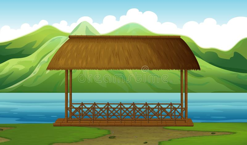 A dock in the nature. Illustration stock illustration