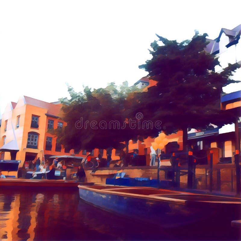 Dock peint photographie stock libre de droits