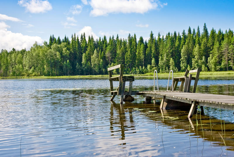 Dock or pier on lake in summer day. Finland stock photos