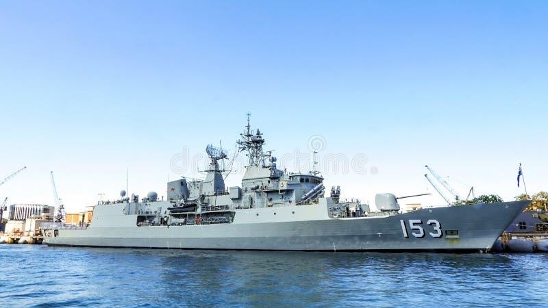 Dock royal de frégate d'Australie de HMAS Stuart FFH 153 au port Jackson, Sydney, Australie photo libre de droits
