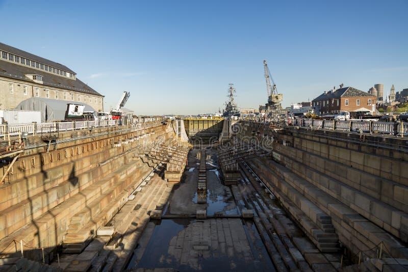 Dock sec de chantier naval à Boston mA photos stock