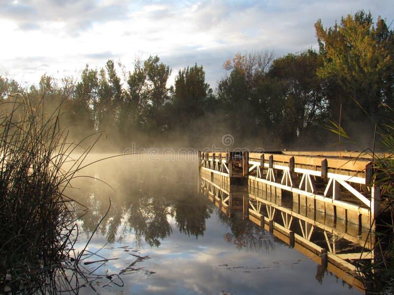 Dock sur le lac brumeux de lever de soleil photos stock