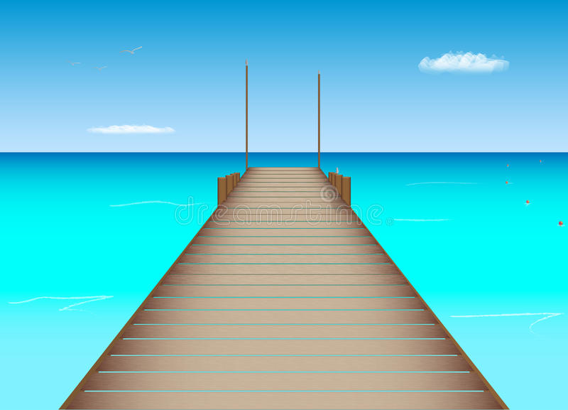 Dock in Tropical Location. Illustration of a dock, ocean and sky in a tropical location vector illustration