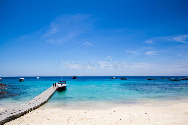 Download Dock walk way and blue sky stock image. Image of resort - 26847097