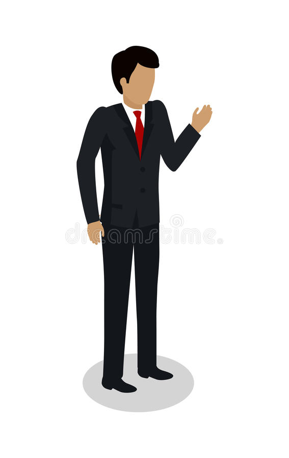 Dock Worker Foreman Manager in Expensive Suit. Makes inspection through industrial harbor. Supervisor checking containers data. Inspector controlling working royalty free illustration