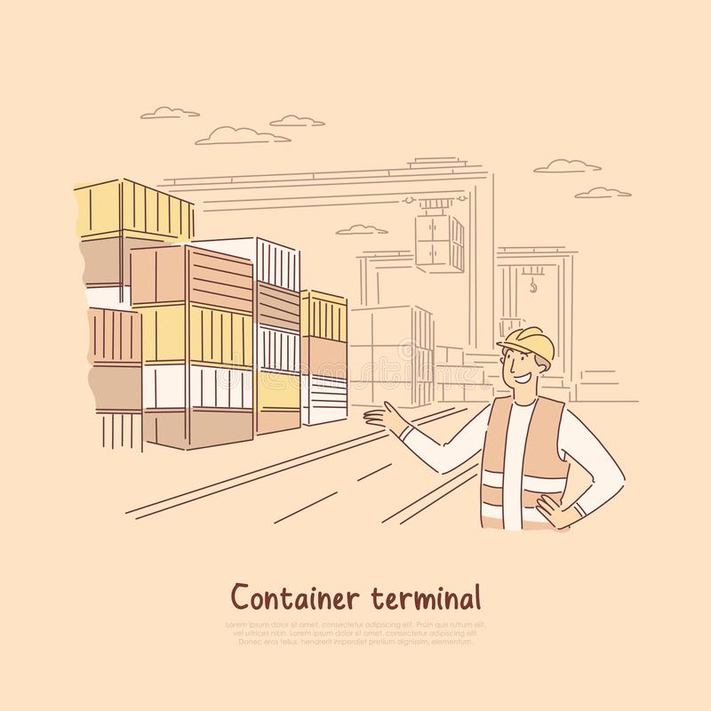 Dock worker at work, male engineer monitoring metal containers shipment, merchandise, goods import, export banner. Seaport terminal, warehouse concept cartoon vector illustration