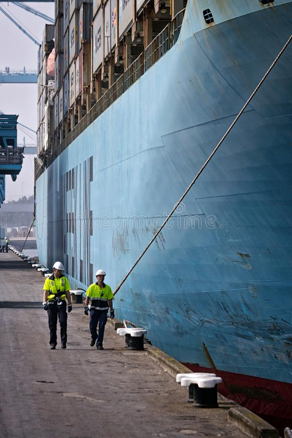 Dock workers shipping port ship royalty free stock photography