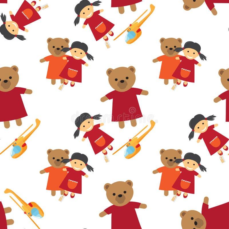 Docka, björn och Toy Helicopter Seamless Pattern stock illustrationer
