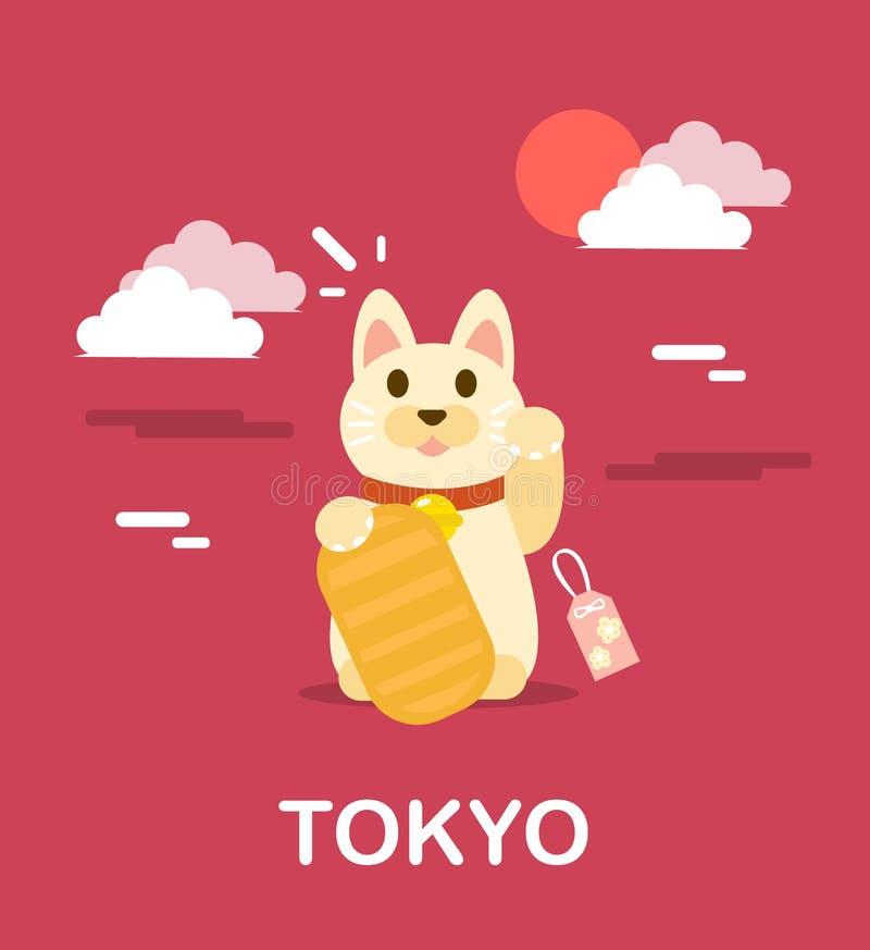 Docka för katt för Maneki neko japansk för bra förmögenhet i den tokyo illustraen vektor illustrationer