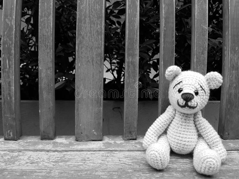 dockabjörn på bänk i svartvitt arkivfoton