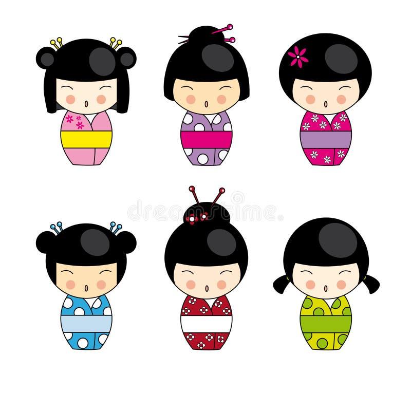 dockakokeshi royaltyfri illustrationer