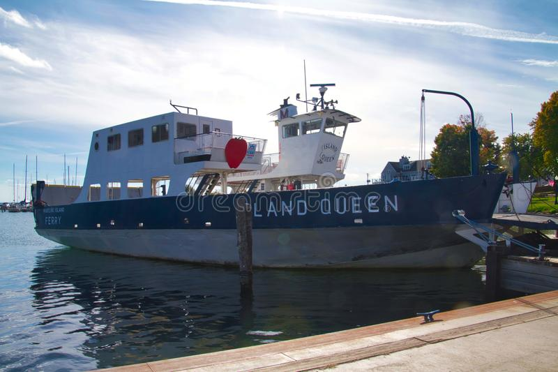 Madeline Island Ferry. Docked at Bayfield Wisconsin, the Island Queen ferry takes visitors to Madeline Island stock photo
