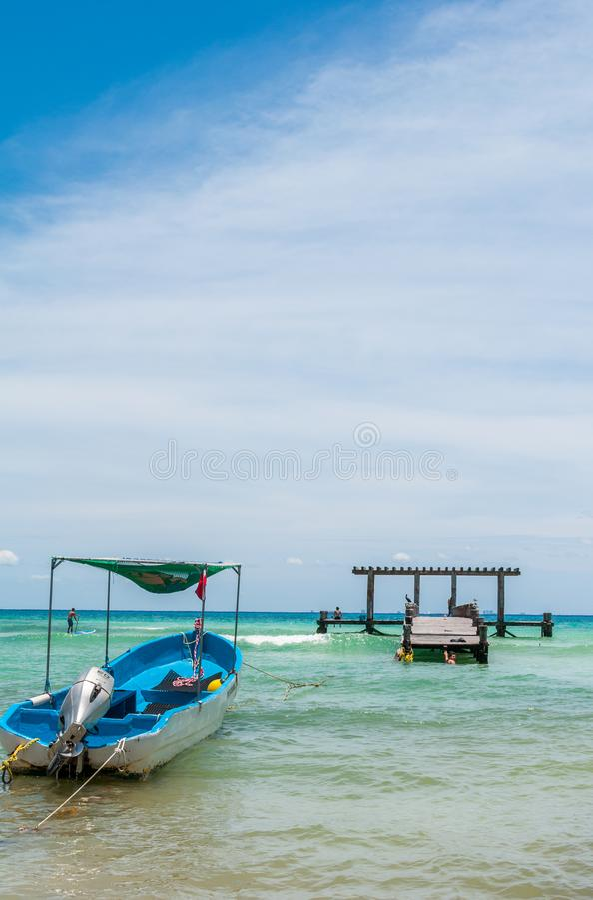 Docked Boats in a Beach Scene at Playa del Carmen stock photos