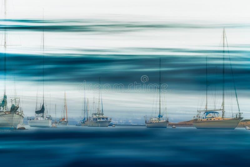 Marina Harbor. Boats Docked in Marina, Abstract Seascape, Long Exposure, Water Surface, Fine Art stock photos
