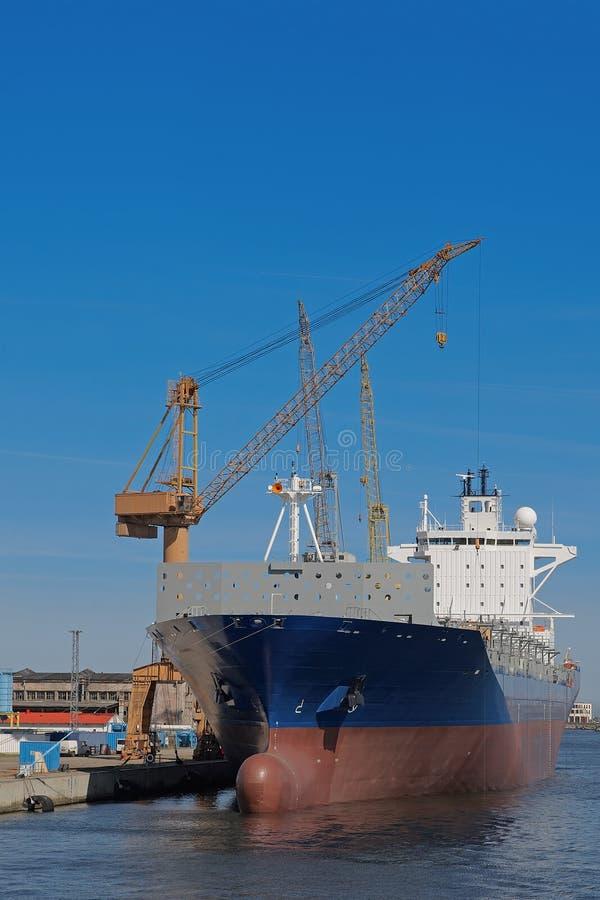 Docked Cargo Ship Stock Photo