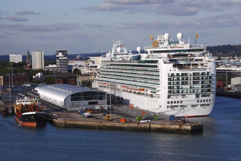 Download Docked Cruise Ship stock image. Image of cruiseship, gate - 16517257