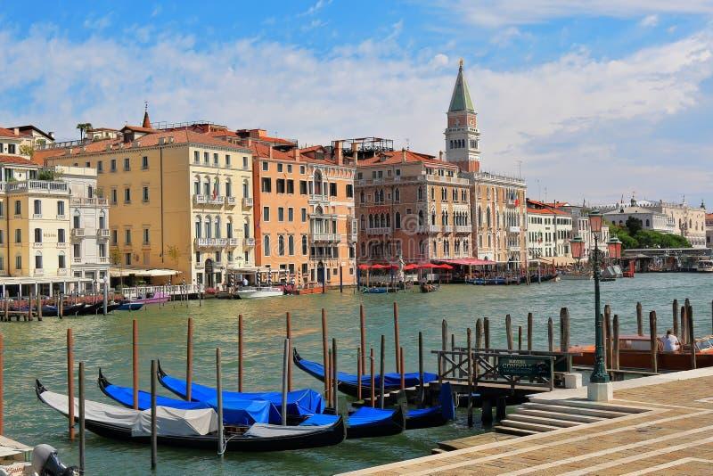 Docked gondolas near Basilica di Santa Maria della Salute royalty free stock images