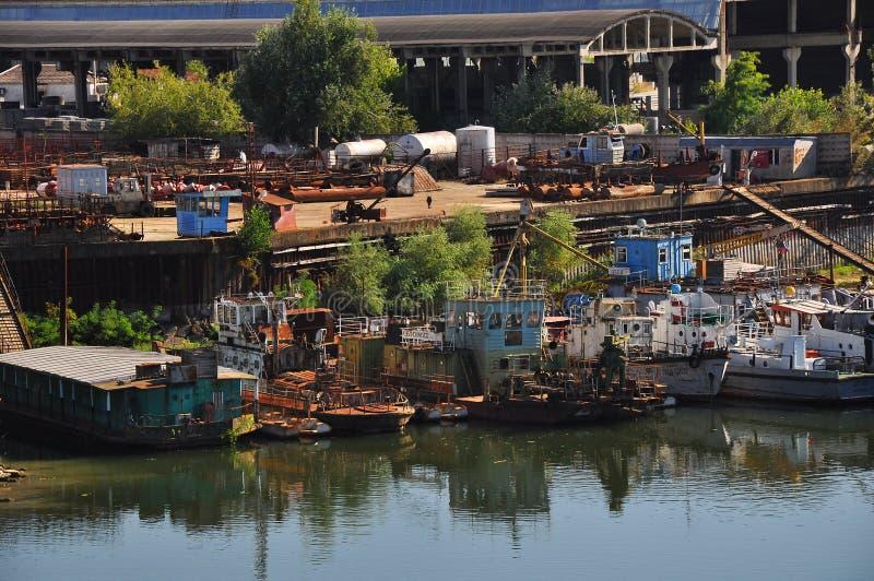Docked ship en krasnodar royalty free stock photo
